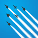 Fighter jets. Military fighter jets during demonstration. Vector illustration Royalty Free Stock Photo