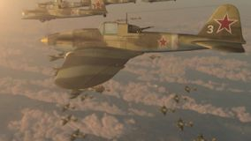 Fighter jets of the second world war IL-2 flying wedge stock footage