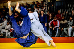 Fighter judo throw IPPON. Fighter judo throw for IPPON in competition judo stock photography