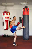 Fighter kicking the punch bag Stock Image