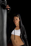 Fighter Leaning On Heavy bag Royalty Free Stock Images