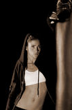 Fighter Leaning On Heavybag stock images