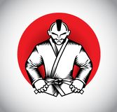 Fighter Logo Design. Kimono wear fighter logo design Royalty Free Stock Photography