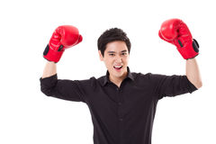 Fighter, man boxer winning Stock Photos