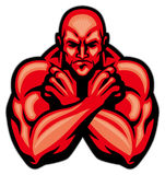 Fighter mascot crossing arm. Vector of fighter mascot crossing arm Royalty Free Stock Photography