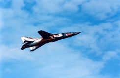 Fighter MiG-23 in flight stock photos