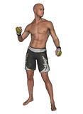 Fighter MMA boxer. Male MMA style fighter / boxer in shorts and gloves Royalty Free Stock Photography