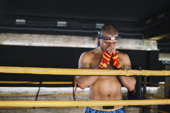 Fighter Muay Thai bowed in the ring Royalty Free Stock Image