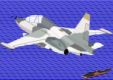 Fighter of naval aviation. Airforce. Military aircraft against an abstract image of the sea and an aircraft carrier Royalty Free Stock Images