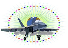 Fighter Naval Aviation. Modern military aircraft against a background of stars and planet Earth Stock Photo
