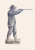 Fighter of 1900, old engraving. Hunter, fighter of 19 century, engraving of 1898, no author's signature Stock Photography
