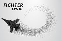 Fighter of the particles. The silhouette of the fighter is of little circles. Vector illustration. Fighter of the particles. The silhouette of the fighter is of Royalty Free Stock Photography