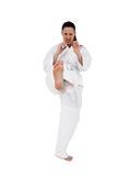 Fighter performing karate stance Royalty Free Stock Photos