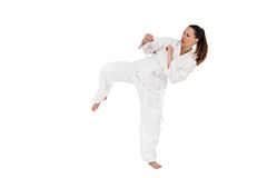 Fighter performing karate stance Stock Images