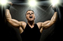 Fighter. Photo  muscular young  guy street-fighter,  triumphant cries  yell , hard light Stock Images