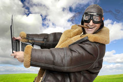 Fighter pilot. With laptop at full speed royalty free stock images