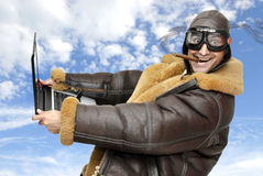 Fighter pilot. With laptop at full speed stock photography
