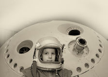 Fighter pilot. Black and white photo Stock Photography