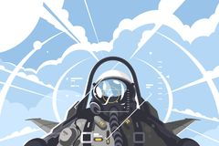Fighter pilot in cockpit. Combat aircraft on mission. Vector illustration royalty free illustration