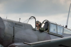 Fighter Pilot. Duxford, UK - 13 July 2014:  Fighter pilot at  Duxford Flying Legends Airshow Stock Photography