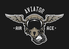 Fighter Pilot Helmet. Fighter Pilot Helmet Emblem t shirt design. Vector illustration Royalty Free Stock Image