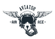 Fighter Pilot Helmet Emblem. Fighter Pilot Helmet. Emblem t-shirt design. Vector illustration Royalty Free Stock Photos