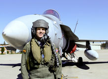 Fighter Pilot With His Jet Royalty Free Stock Photography
