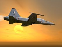 A fighter plane. In the sun set vector illustration