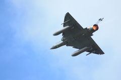 Fighter plane with afterburner Royalty Free Stock Photos