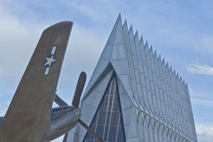 Fighter Plane at Air Force Academy Chapel, CO Royalty Free Stock Image
