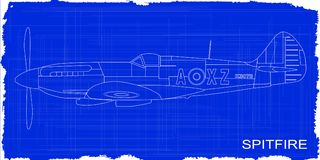 Fighter Plane Blueprint. A Supermarine World War II Spitfire Mark XIV  fighter plane as a blueprint Royalty Free Stock Image