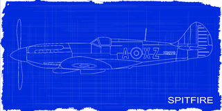 Fighter Plane Blueprint. A Supermarine World War II Spitfire Mark XIV  fighter plane as a blueprint Stock Photos