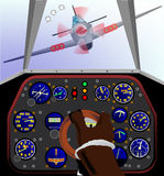 Fighter Plane Cockpit. Cockpit controls of a world war two fighter airplane under attack Stock Photography