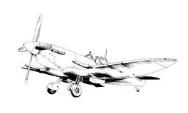 Fighter plane drawn in ink Royalty Free Stock Photos