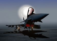 Fighter Plane on the Ground at Night. With Moon Light Royalty Free Stock Photos