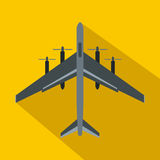 Fighter plane icon, flat style. Fighter plane icon in flat style on a yellow background Royalty Free Stock Photo