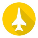 Fighter plane icon with long shadow. Simple vector icon Stock Photography