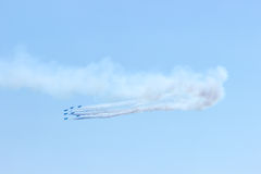 Fighter plane looping in turbo fly on the sky Stock Photo