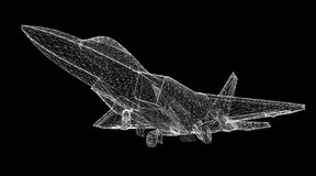 Fighter Plane. Model, body structure, wire model Stock Photography