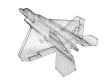 Fighter Plane. Model, body structure, wire model Stock Image