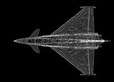 Fighter Plane. Model, body structure, wire model Royalty Free Stock Images