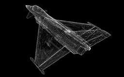 Fighter Plane. Model, body structure, wire model Royalty Free Stock Photos