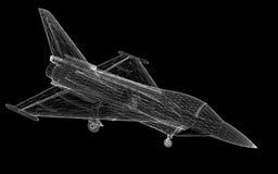 Fighter Plane. Model, body structure, wire model Stock Photo
