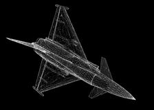 Fighter Plane. Model, body structure, wire model Royalty Free Stock Photo