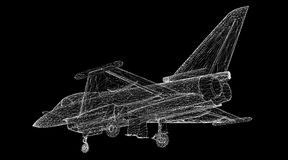 Fighter Plane. Model, body structure, wire model Royalty Free Stock Image