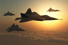 Fighter Plane Squadron. Jet Fighter planes in formation Stock Photos