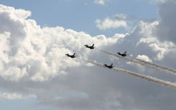 Fighter Planes. Flying together in the sky stock photo