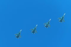 Fighter planes in airshow. On blue sky royalty free stock photography
