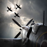 The Fighter planes. Digital artwork on second world war theme. On memory Battle of Britain anniversary. Are used fictive aircraft with vintage style look royalty free stock photo