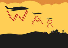 Fighter Planes Drop Bombs in War Text formation. Editable Clip Art. War text symbol on bombs dropped by planes on a facility. Jpg and vector royalty free illustration